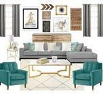 """Grey, Turquoise & Gold Living Room"" by theofficialreginamarie on  #gold #grey #..."