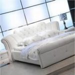 High Quality Leather Bed, Bedroom Furnitures, White