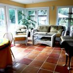 I am in love with the Saltillo Mexican Terra Cotta floor tile in this sunroom! T...