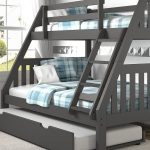 Lila Modern Grey Bunk Bed with Trundle