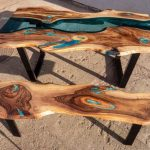 Live edge river glass dining table with bench and glowing resin fill in