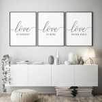 Love is patient,Love is kind,Love never fails,Set of 3,Bible Verse wall art,Wedding Art,Christian wall art,bedroom decor,Scripture wall art