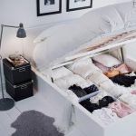 MALM High bed frame/4 storage boxes - white, Lönset