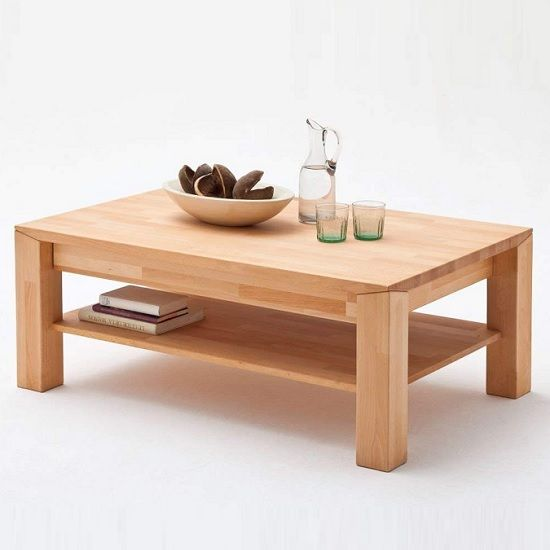 Messina Wooden Coffee Table In Beech Heartwood With A Drawer | Furniture in Fashion