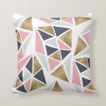 Modern geometric pink navy blue gold triangles throw pillow | Zazzle.com