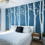 N.SunForest 7.8ft High White Birch Tree Vinyl Wall Decals Nursery Forest Family Tree Wall Stickers Art Decor Murals - Set of 8