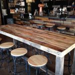 Reclaimed Wood Bar Table Restaurant Counter Community Communal Rustic Custom Cafe Coffee Conference Office Meeting Pub High Top Long Thin