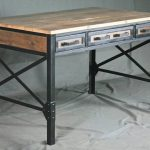 Reclaimed Wood Desk with Drawers.  Industrial Office Desk w/ Storage. French Industrial Desk. Vintage Modern Desk. Rustic Industrial Table.