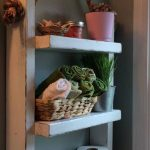 Rope Hanging Shelf, Wooden Ladder Shelf, Storage Shelf, Bathroom Storage,Rustic Shelf, Over The Toilet Storage, Bathroom Towel Rack, White