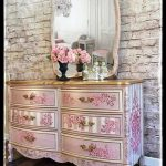SOLD~ Elegant pink and gold Dixie dresser with matching mirror