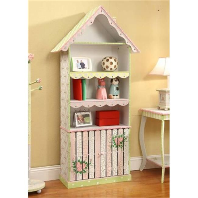 Teamson W-6927A Girls Bookcase with Cabinet – Crackled Rose Room Collection