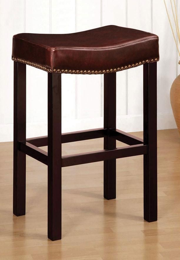Tudor Backless 30″ Stationary Barstool In Antique Brown Leather With N