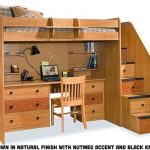 Utica Dorm Loft Bed 23-835-61 | Bedroom Furniture, Beds | Berg Furniture Natural Maple Loft Bed with Stairs and Desk