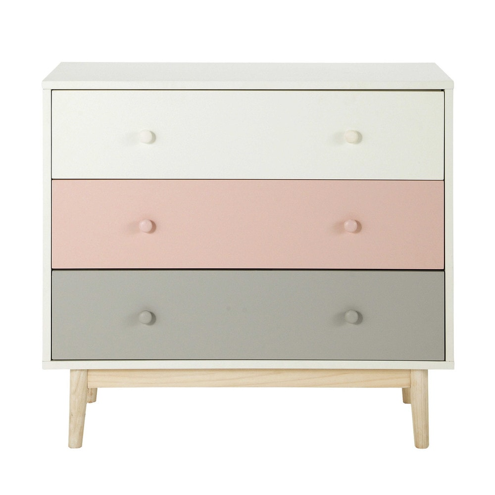 Vintage Chest of 3-Drawers in White, Pink and Grey | Maisons du Monde