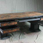 Vintage Industrial Reclaimed Wood Desk with Drawers. Rustic Industrial Desk. Reclaimed Wood Desk with Storage. Industrial Office Furniture.
