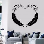 Vinyl Wall Decal Feathers Heart Decor Love Birds Romantic Stickers (299ig)  | eBay