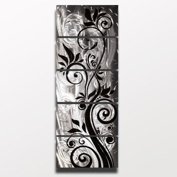 """""""Whispering Winds"""" 68″x24″ Silver Black Aluminum Large Modern Abstract Metal Wall Art Sculpture"""