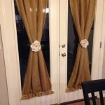 set of 2 natural burlap french door curtains country farmhouse living room panels drapes frayed or serged edges custom length available