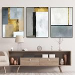 set of 3 wall art geometric Acrylic painting on canvas framed wall art set Abstract Gold leaf Original black and white cuadros abstractos