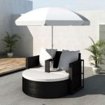 vidaXL Garden Bed with Parasol Black Poly Rattan
